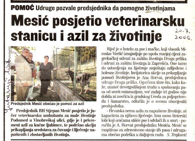 članci iz Večernjeg lista, Novog lista i Vjesnika, 2006.  STJEPAN MESIĆ